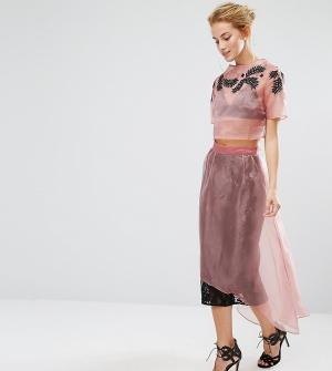 Hope and Ivy Кружевная юбка миди с накладкой из органзы & Co-ord. Цвет: розовый
