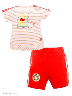 Комплект: футболка и шорты Disney Winnie The Pooh Adidas. Цвет: красный, белый, оранжевый