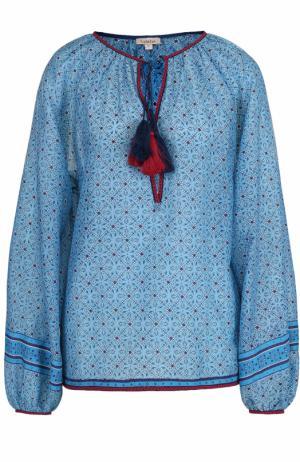 Блуза с принтом и контрастной отделкой Talitha. Цвет: бирюзовый