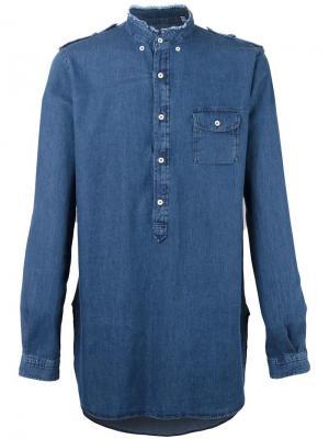 Джинсовая рубашка Wooster + Lardini. Цвет: синий