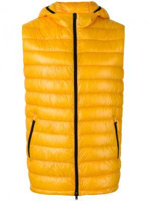 Жилет с капюшоном на молнии Herno. Цвет: жёлтый и оранжевый