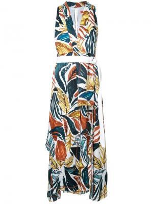 Платье-миди с принтом в виде листьев Manning Cartell. Цвет: многоцветный