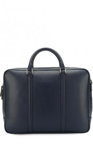 Кожаная сумка для ноутбука с плечевым ремнем Canali. Цвет: темно-синий