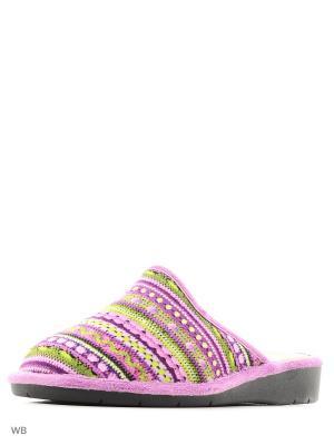 Тапочки BOISSY. Цвет: зеленый, фиолетовый