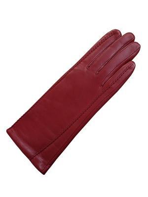 Кожаные перчатки ESMEE. Цвет: бордовый