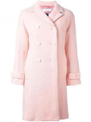 Текстурированное двубортное пальто Facetasm. Цвет: розовый и фиолетовый