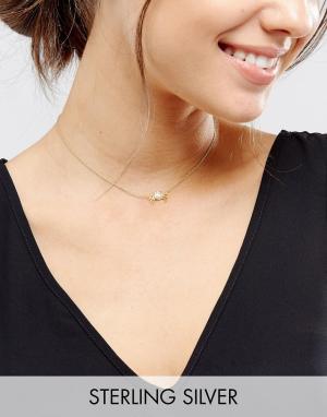 ASOS Ожерелье Cancer из позолоченного серебра. Цвет: медный