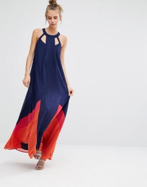 Adelyn Rae Платье макси с вырезами у горловины и вставками. Цвет: темно-синий