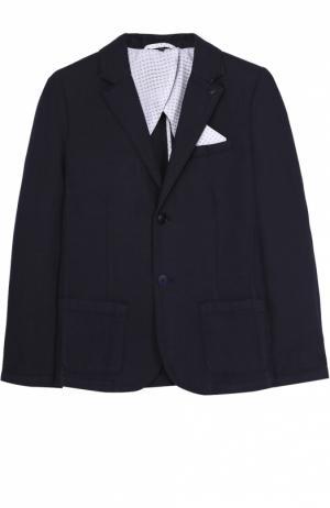 Однобортный пиджак джерси Giorgio Armani. Цвет: синий
