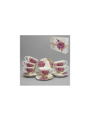Набор чайный 12 пр. РОЗЫ НА ОРНАМЕНТЕ 220 мл BRISWILD. Цвет: белый