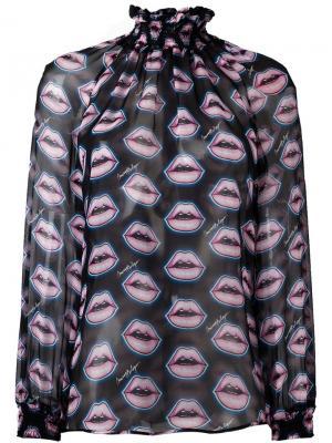 Блузка с узором lips Marco Bologna. Цвет: чёрный