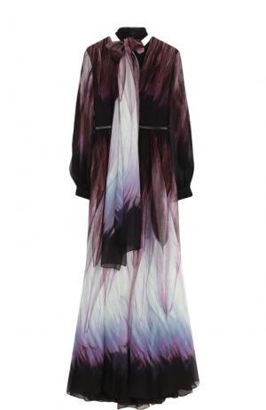 Шелковое платье-макси с воротником аскот и поясом Elie Saab. Цвет: разноцветный