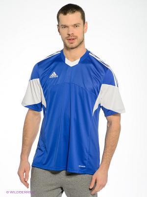 Футболка Adidas. Цвет: синий, белый
