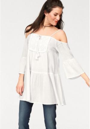 Удлиненная блузка Aniston. Цвет: белый