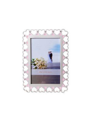 Фотрамка 10х15см с сердечками  металлическая сос тразами PLATINUM quality. Цвет: белый, розовый