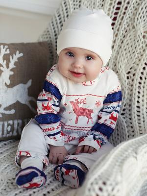Комбинезон Lucky Child. Цвет: белый, синий, красный