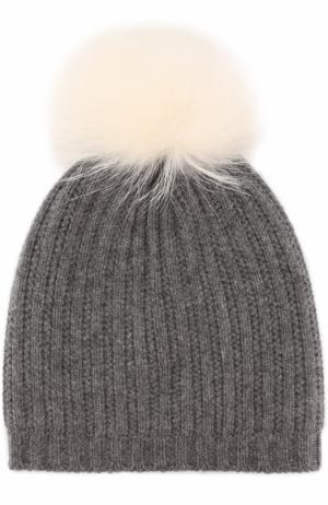 Вязаная шапка из смеси шерсти и кашемира с меховым помпоном Yves Salomon Enfant. Цвет: белый