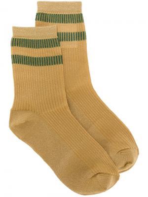 Носки с контрастными полосками Red Valentino. Цвет: жёлтый и оранжевый
