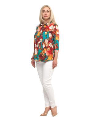 Блузка OLSI. Цвет: бирюзовый, красный, оранжевый