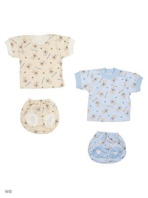 Комплект  белья 2 штуки Babycollection. Цвет: бежевый, голубой