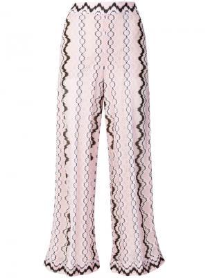 Широкие брюки с принтом Missoni. Цвет: розовый и фиолетовый