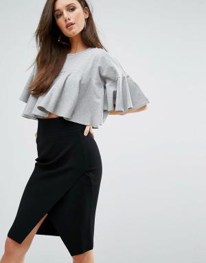 Kendall + Kylie Укороченная футболка с расклешенной отделкой. Цвет: серый