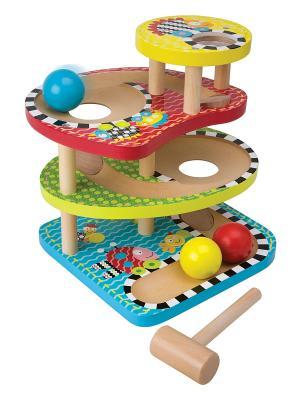 Развивающий деревянный центр Макс - Три шарика. Alex. Цвет: коричневый, белый, желтый, красный, синий