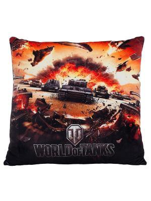 Подушка Мир танков World of Tanks. Цвет: черный, красный
