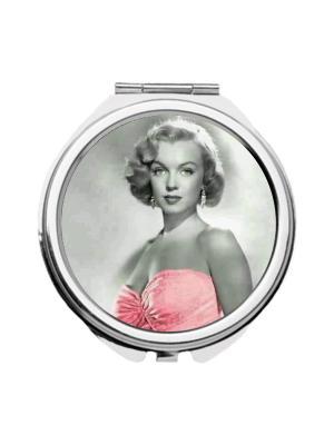 Зеркальце карманное Монро в розовом Chocopony. Цвет: черный, розовый, серый