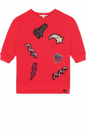 Мини-платье из хлопка и полиэстера с аппликациями пайетками Marc Jacobs. Цвет: красный