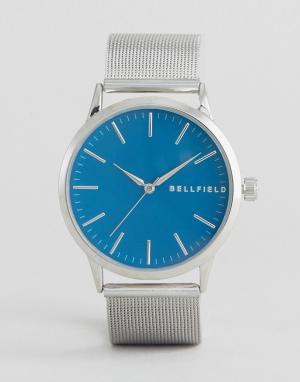 Bellfield Часы с синим круглым циферблатом. Цвет: золотой