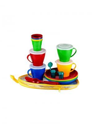 Solaris S1402 набор посуды на 4 персоны Универсальный. Цвет: синий, желтый, красный