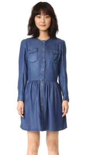 Платье из ткани шамбре The Kooples. Цвет: голубой