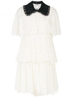 Кружевное платье с контрастным воротником Philosophy Di Lorenzo Serafini. Цвет: белый