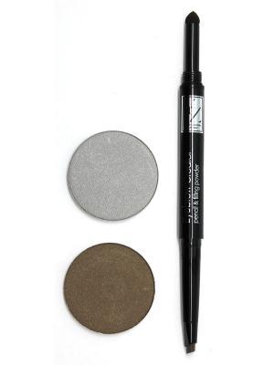 Промо-набор  декоративной косметики YZ (карандаш для бровей+тени век) ИЛЛОЗУР. Цвет: коричневый, серый, темно-коричневый
