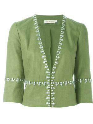 Декорированный пиджак Tory Burch. Цвет: зелёный