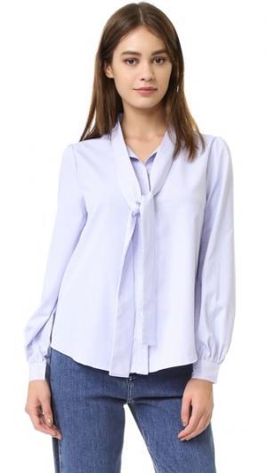 Блуза с завязками спереди ENGLISH FACTORY. Цвет: белый/синий