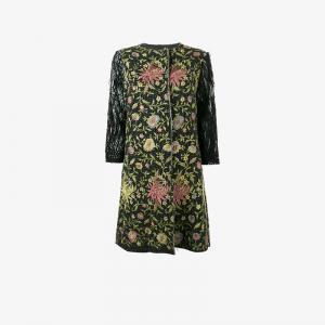 Пальто с цветочной вышивкой By Walid. Цвет: чёрный