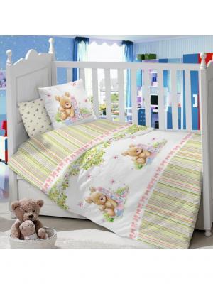 Комплект Постельного Белья В Кроватку Из Сатина (Простыня На Резинке) Ивбэби. Цвет: светло-зеленый, белый, светло-коричневый