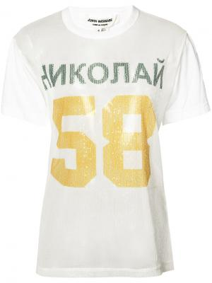 Футболка с пайетками и принтом 58 Junya Watanabe Comme Des Garçons. Цвет: белый