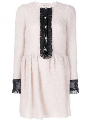 Платье с манжетами на пуговицах Philosophy Di Lorenzo Serafini. Цвет: розовый и фиолетовый