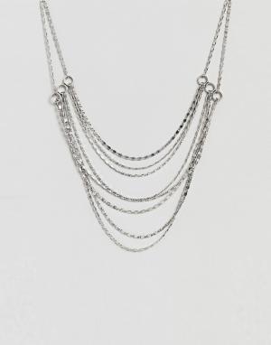 ASOS Ярусное ожерелье из цепочек DESIGN. Цвет: серебряный