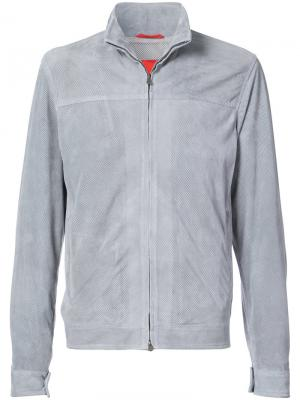 Куртка с застежкой на молнию и сетчатой подкладкой Isaia. Цвет: серый