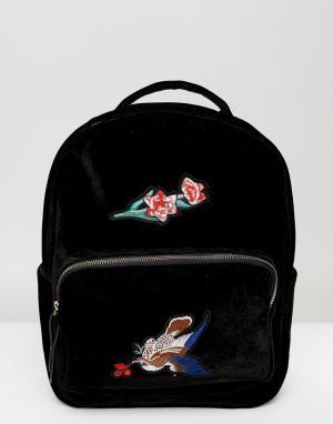 7X Бархатный рюкзак с вышивкой. Цвет: черный