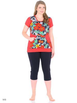 Домашний костюм (футболка, бриджи) HomeLike. Цвет: темно-синий, красный
