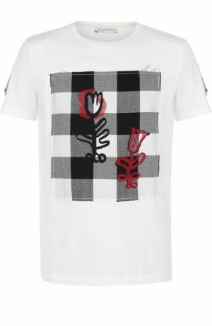 Хлопковая футболка с контрастной отделкой J.W. Anderson. Цвет: белый