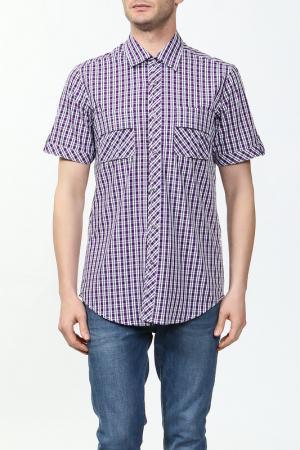 Рубашка Karflorens. Цвет: фиолетовый, белый, клетка