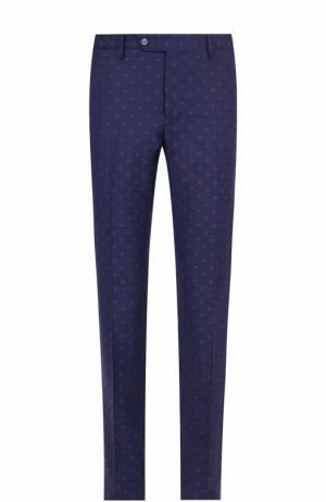 Шерстяные брюки прямого кроя с принтом Germano. Цвет: синий