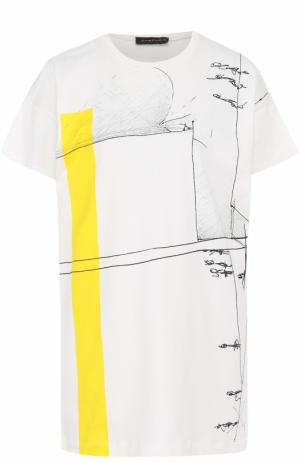 Хлопковая футболка с принтом Chapurin. Цвет: белый