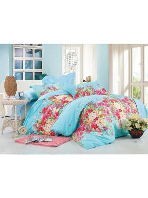 Комплект постельного белья 1,5 сп. сатин, рисунок 685 LA NOCHE DEL AMOR. Цвет: голубой